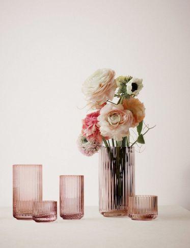 Wazon Lyngby szklany ciemno różowy