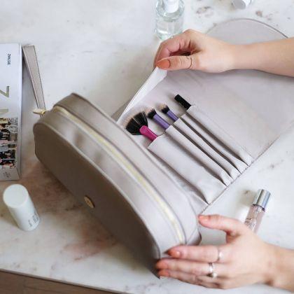 Kosmetyczka z kieszeniami na pędzle Stackers Szara